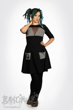 """Belladonna"" half circle skirt - black with black-white striped bags"