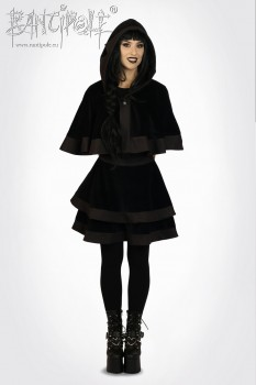 """Stella"" cape with hood - black"