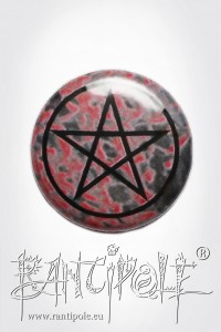 Pentacle black on red Button