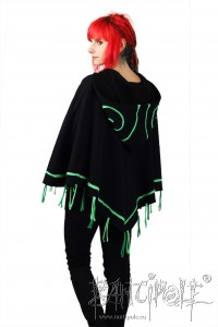 """Aries"" poncho, cape in black and green made of organic sweat fabric"