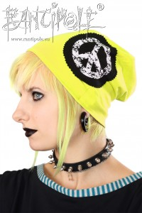 """Peace"" Beanie, long - sulphur yellow"