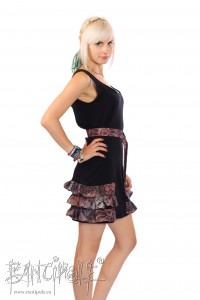 """Moonlight"" dress in black and vintage-flower-fabric made of eco-fabrics"