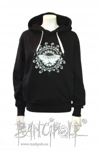 """Moth mandala"" fair trade hoodie - black"