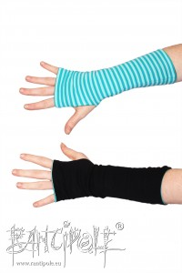 Long reversible gauntlets in turquoise striped and black